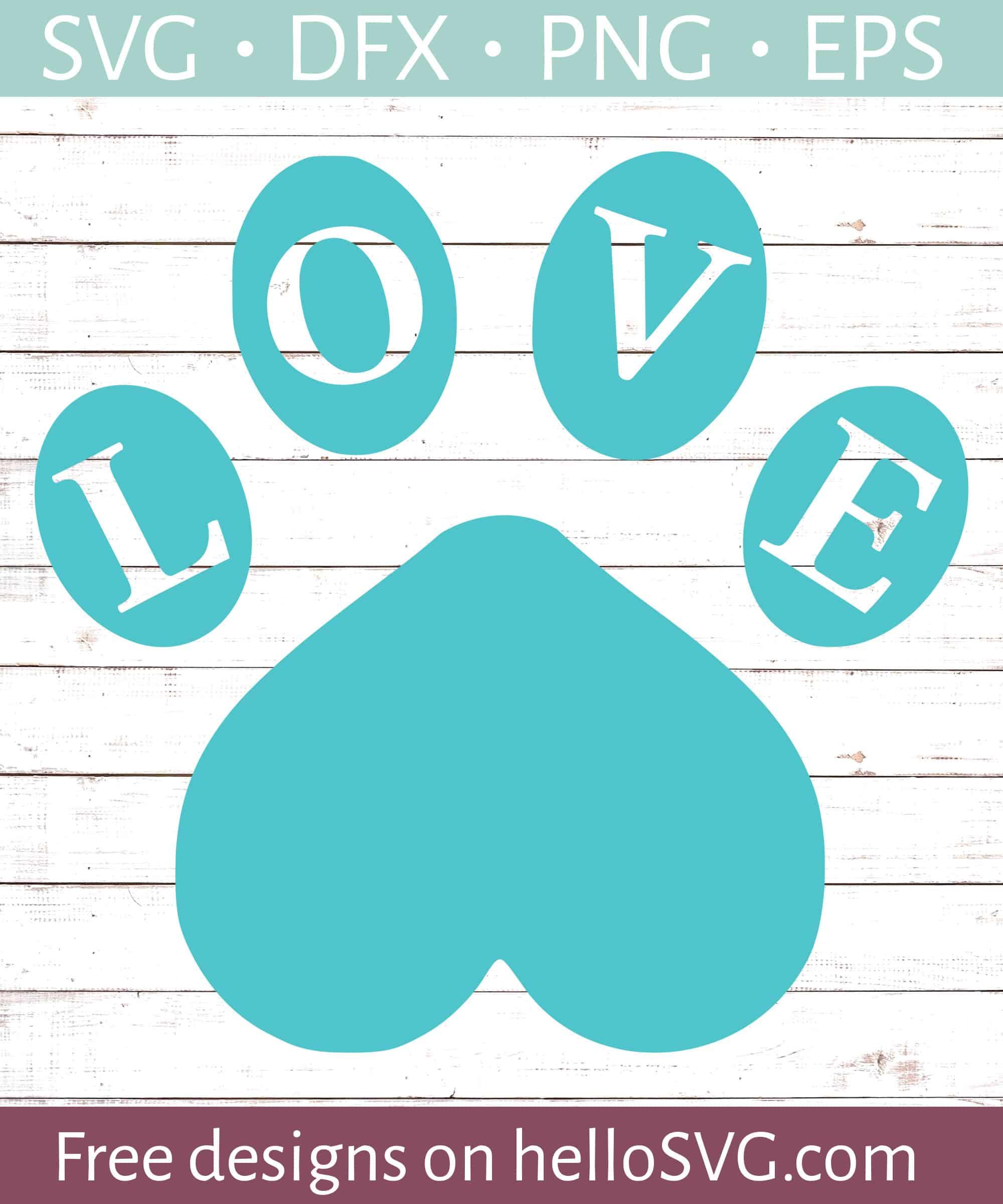 Love With Paw Print 2 Svg Free Svg Files Hellosvg Com