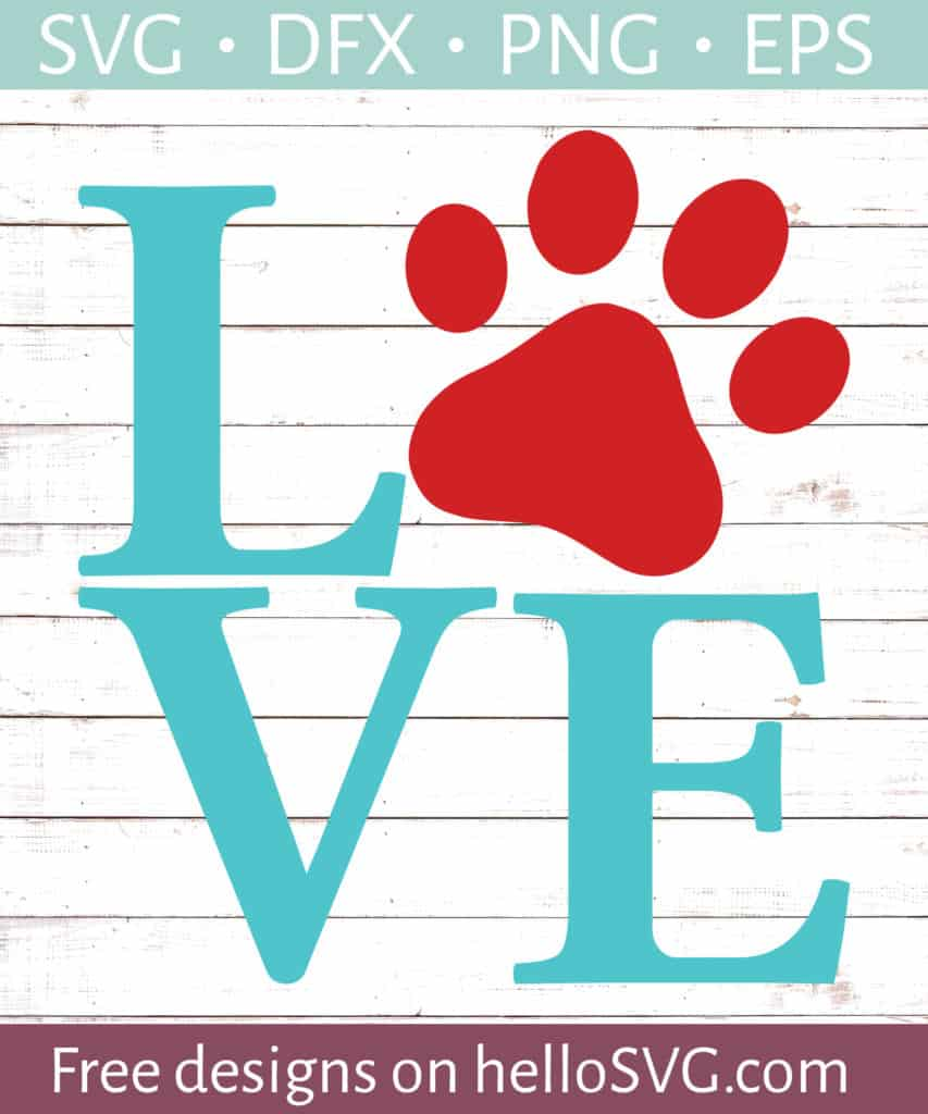 Download LOVE with Paw Print #1 SVG - Free SVG files   HelloSVG.com