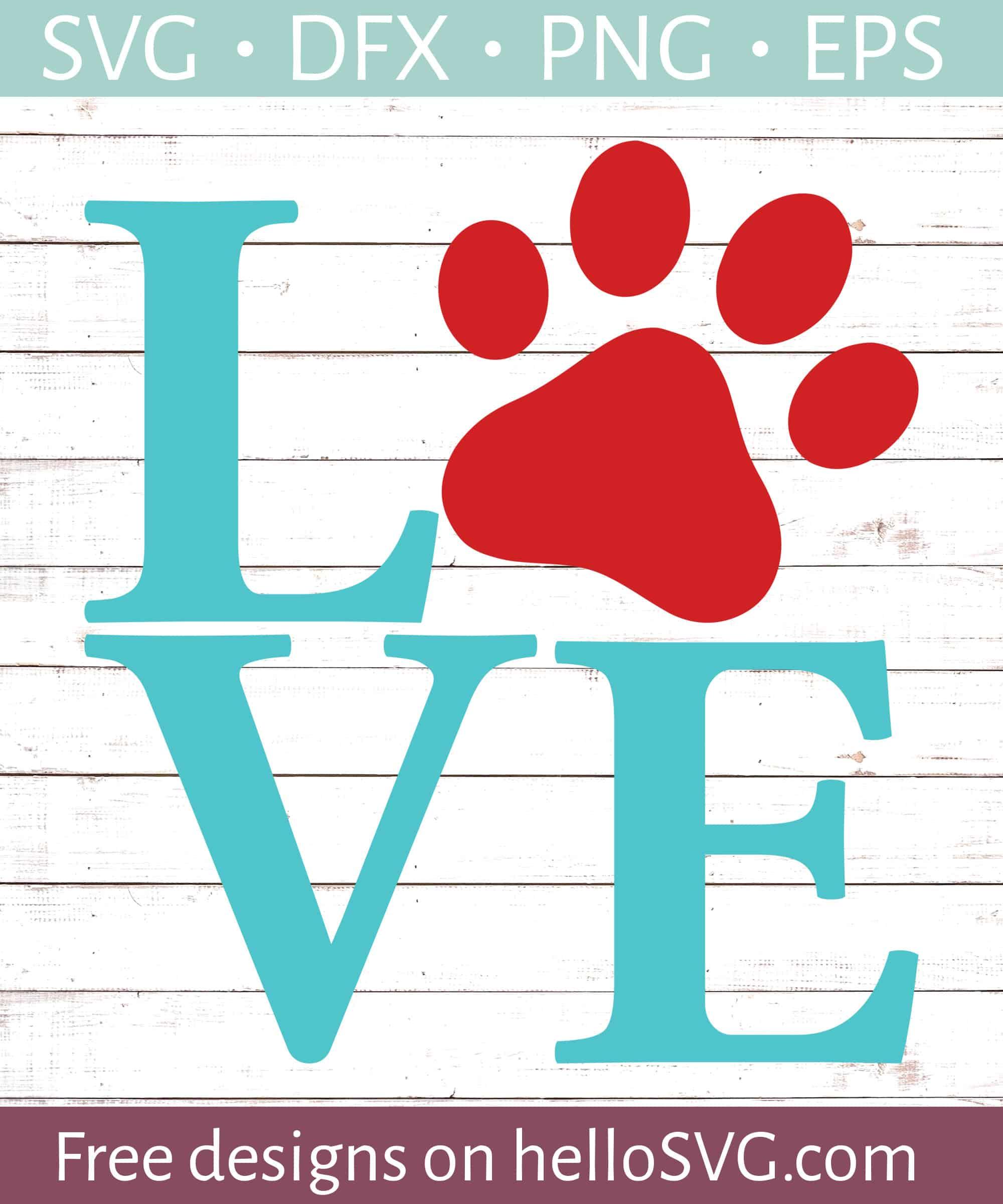 Love With Paw Print 1 Svg Free Svg Files Hellosvg Com