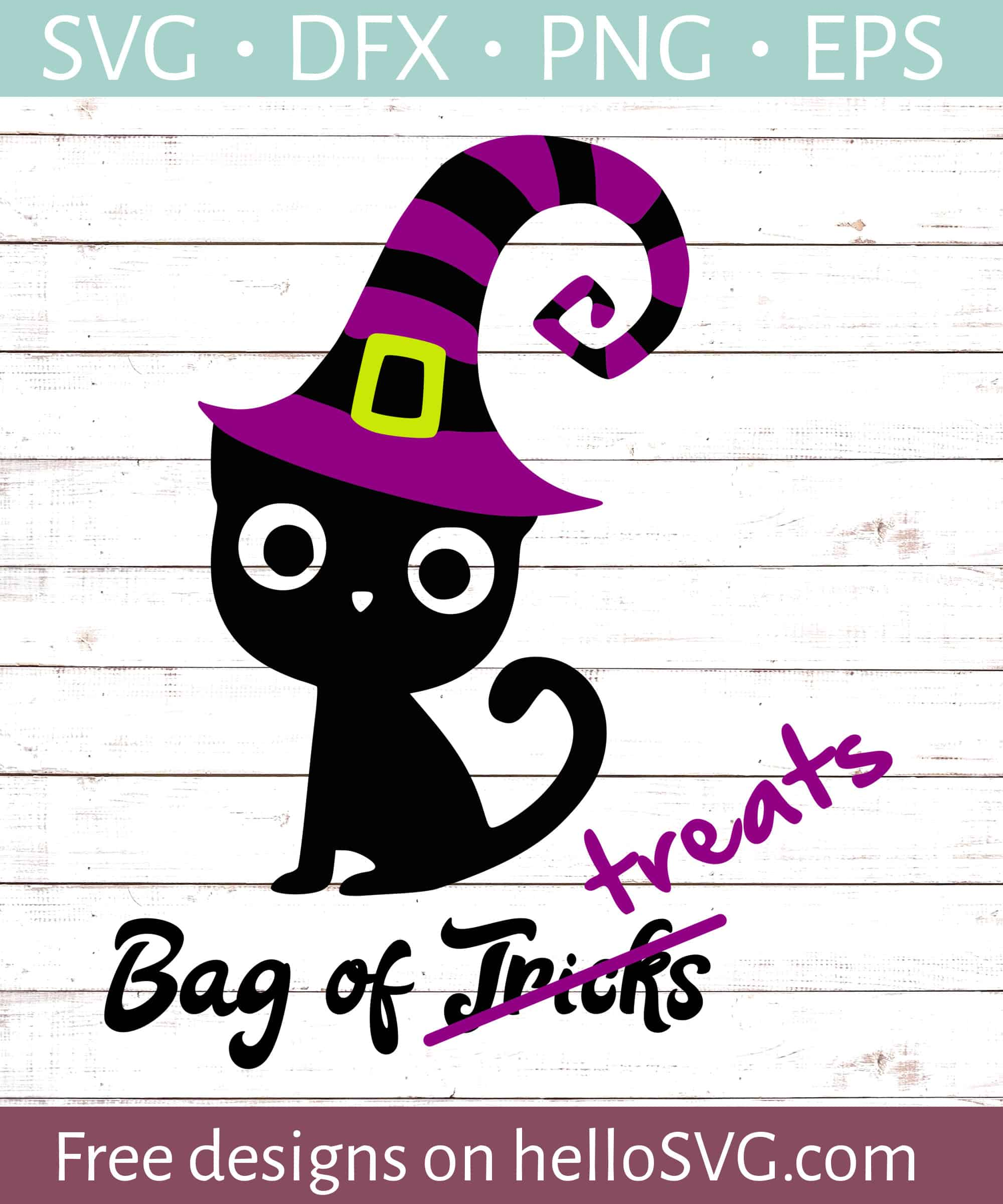 Black Cat Witch Trick Or Treat Bag Svg Free Svg Files Hellosvg Com
