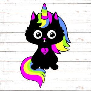 Black Cat Rainbow Caticorn