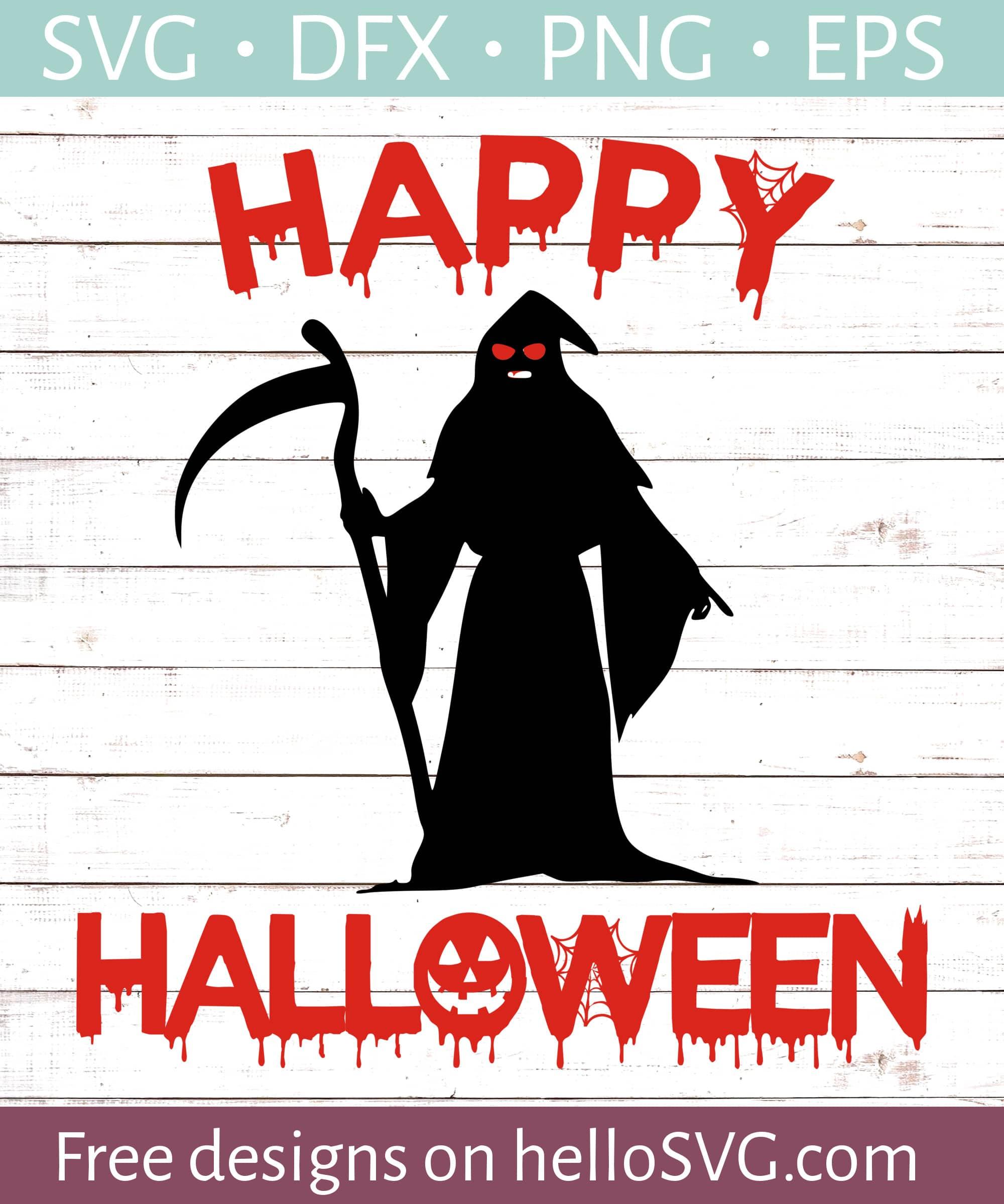 Grim Reaper Happy Halloween 1 Svg Free Svg Files Hellosvg Com