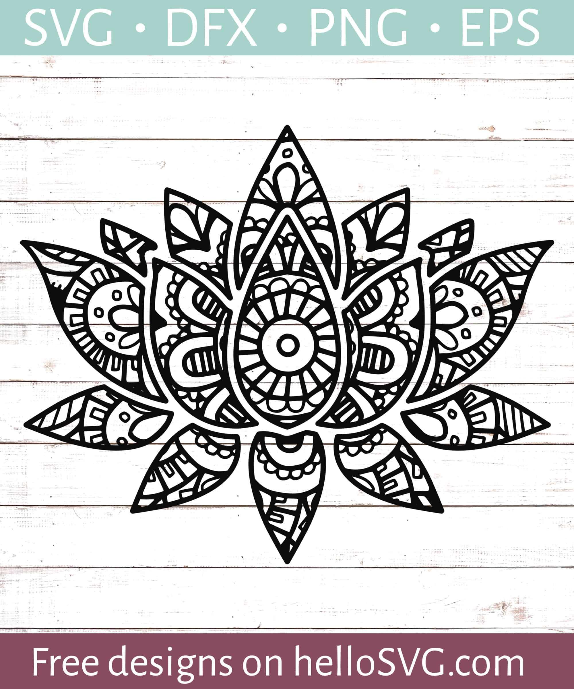 Mandala Style Lotus Flower Svg Free Svg Files Hellosvg Com
