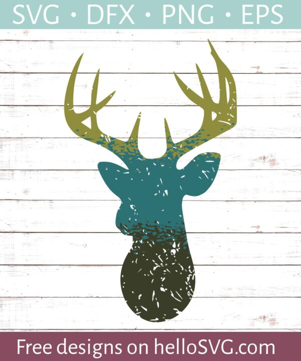Ombre Style Distressed Deer SVG