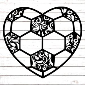 Soccer Heart with Floral Pattern