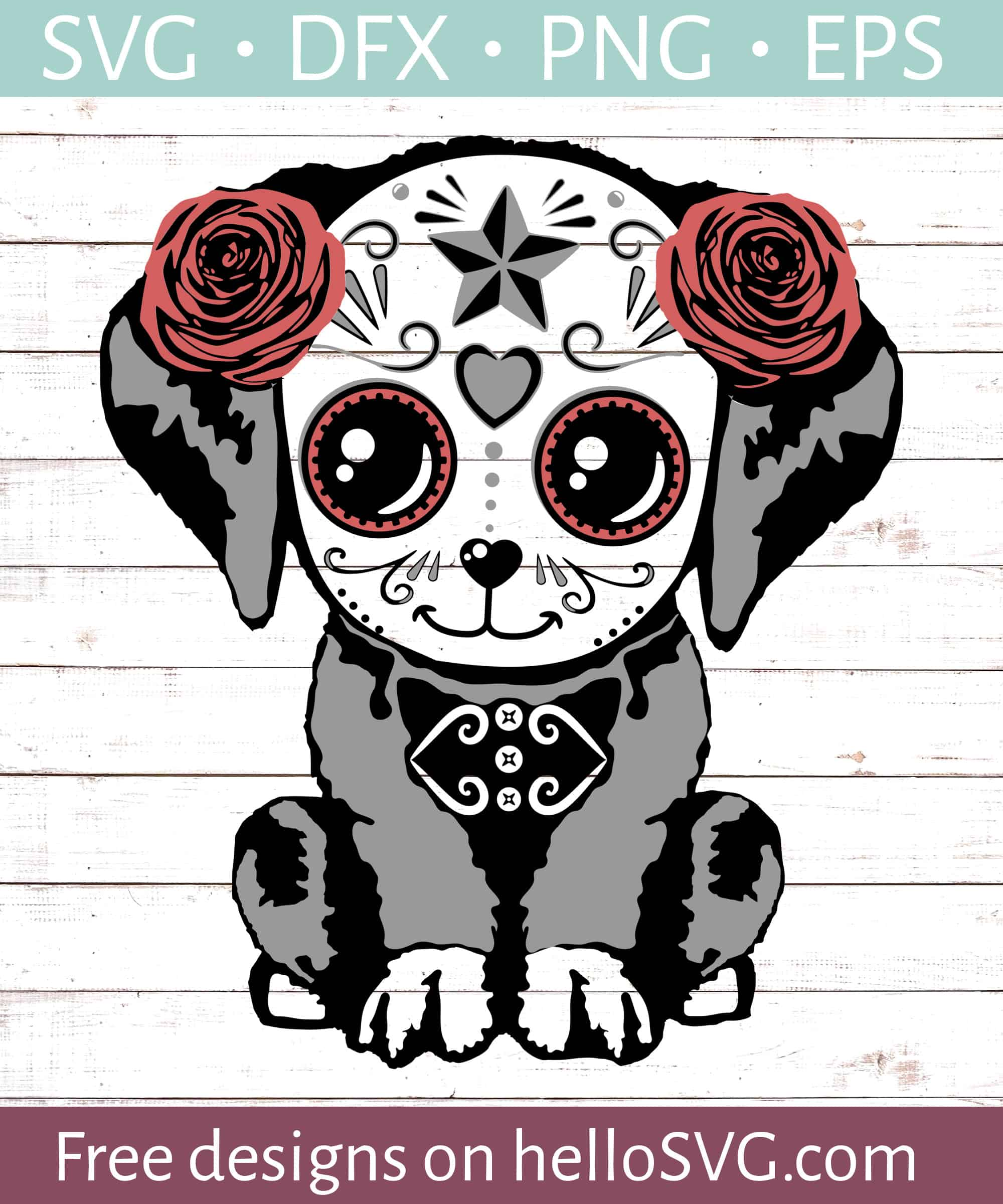 Sugar Skull Dog 1 Svg Free Svg Files Hellosvg Com