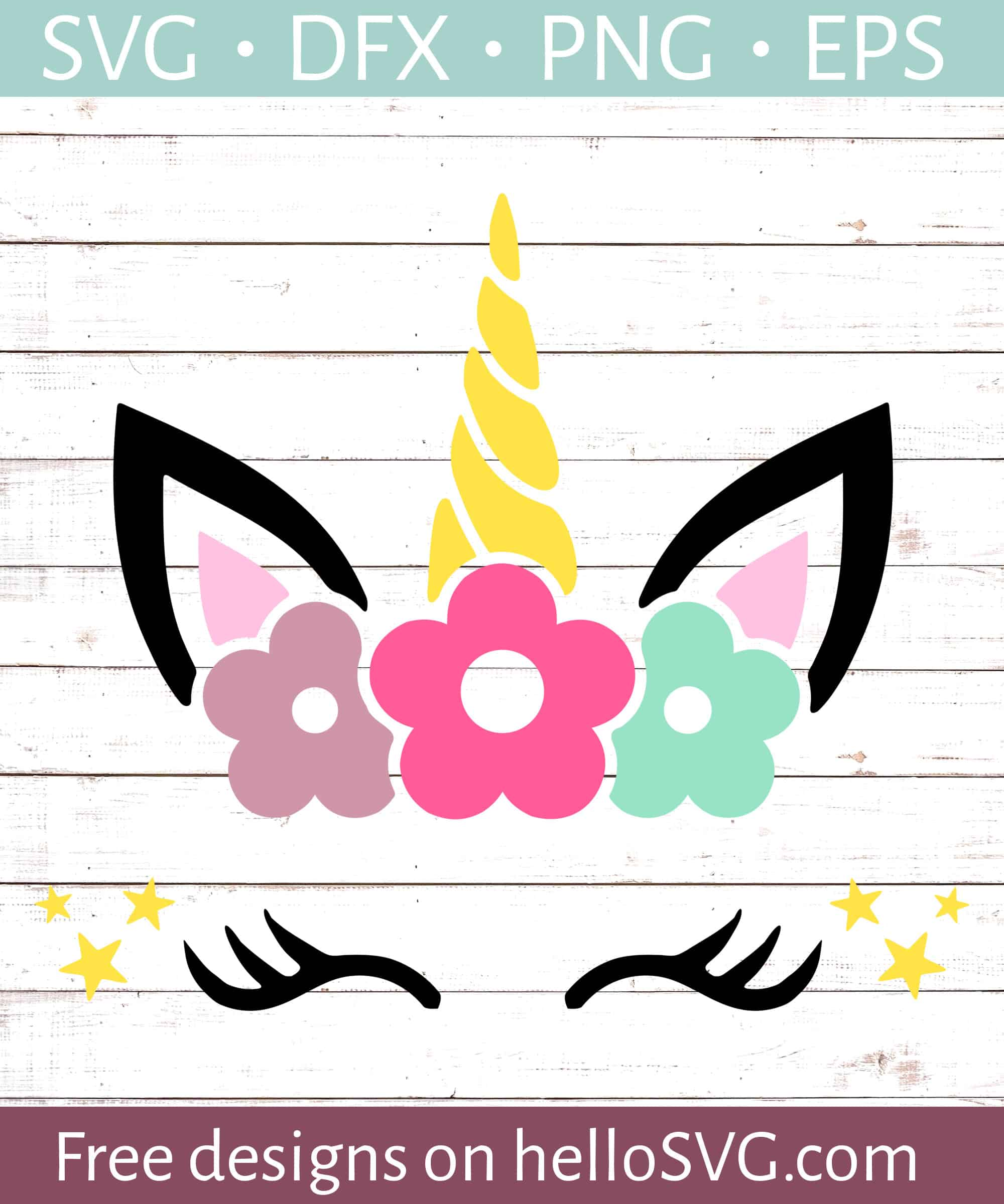 Unicorn Face With Flowers Svg Free Svg Files Hellosvg Com
