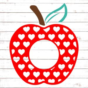 Apple with Red Hearts Monogram #2
