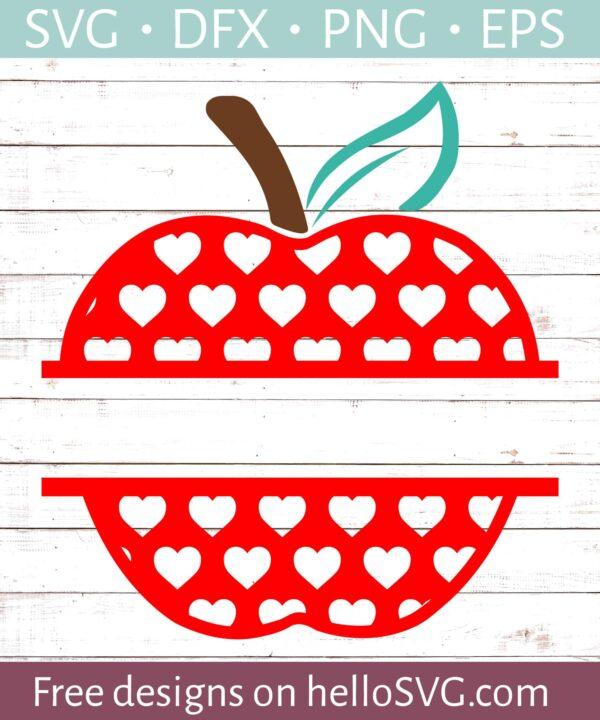 Apple with Red Hearts Split Monogram #2