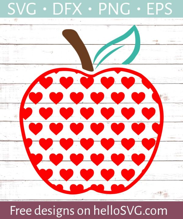 Apple with Red Hearts