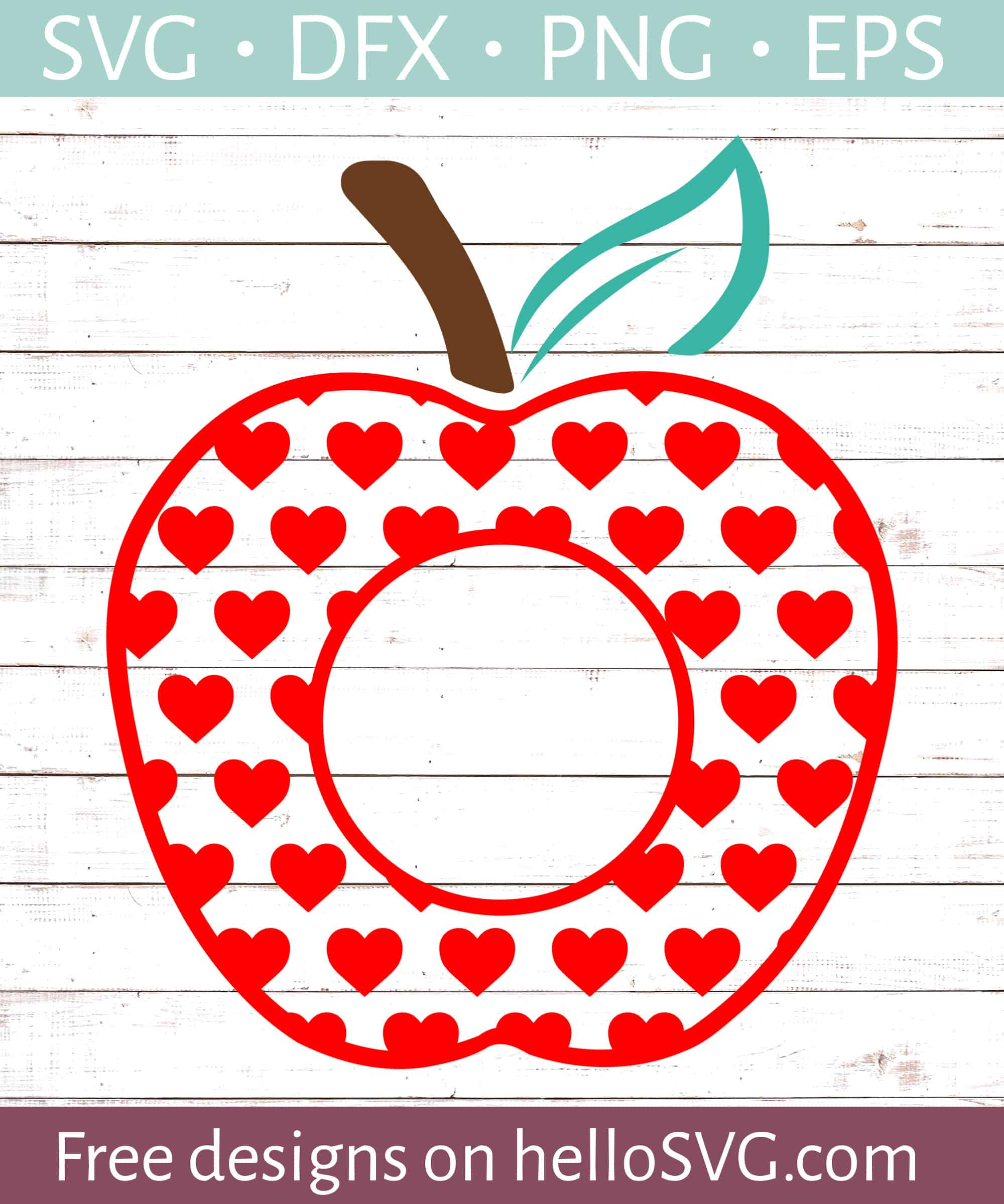 Apple With Red Hearts Monogram Svg Free Svg Files Hellosvg Com