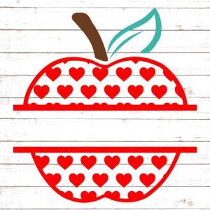 Apple with Red Hearts Split Monogram