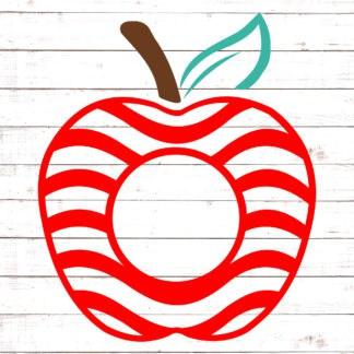 Apple with Red Swirls Monogram