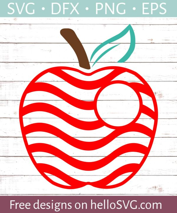 Apple with Red Swirls Small Monogram