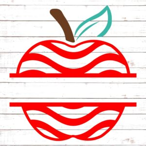 Apple with Red Swirls Split Monogram