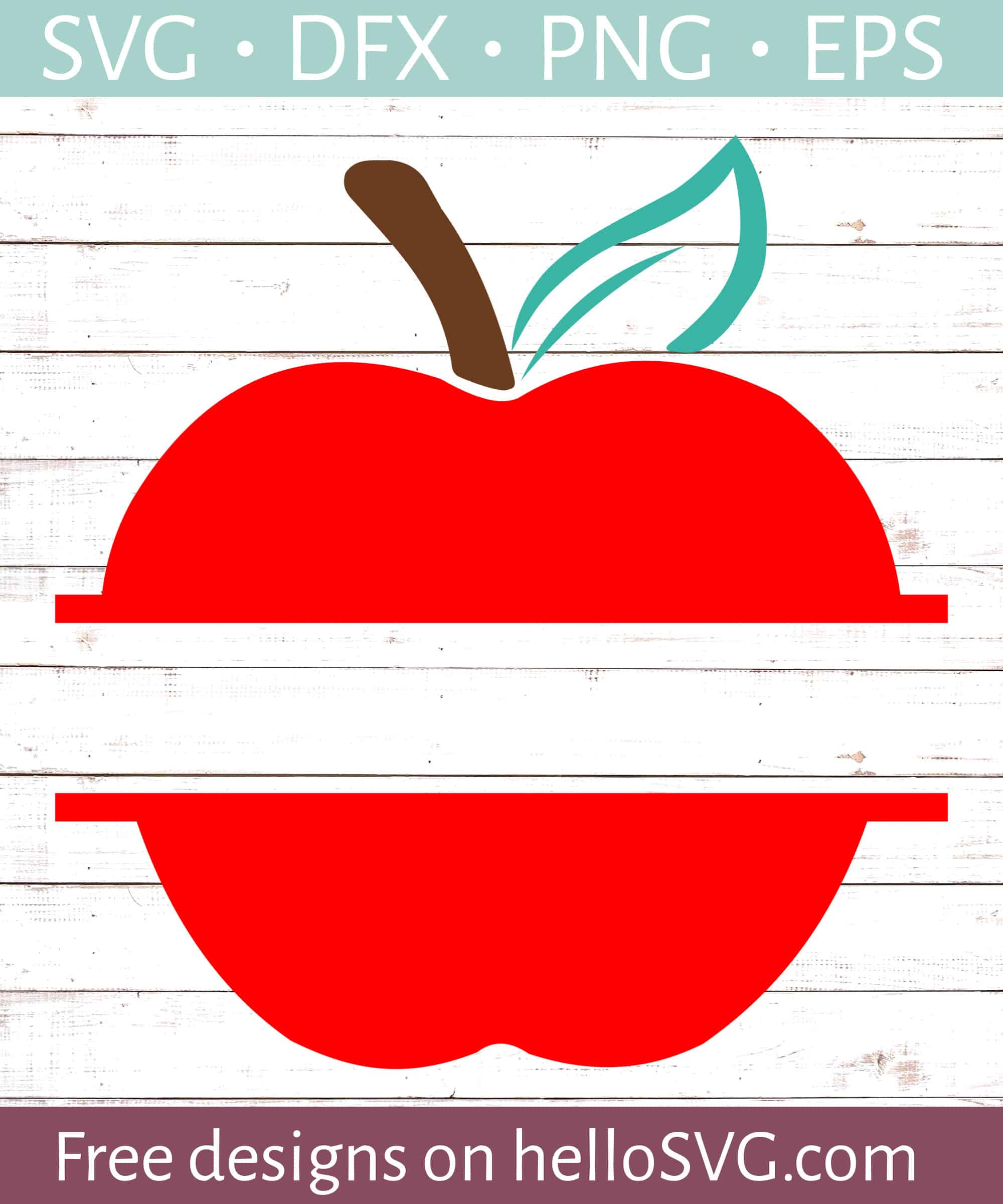 Solid Red Apple Split Monogram Svg Free Svg Files Hellosvg Com