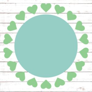 Circle Monogram Frame #11 with Hearts