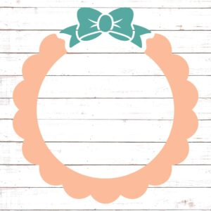 Circle Monogram Frame #4 with Bow