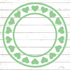 Circle Monogram Frame #5 with Hearts