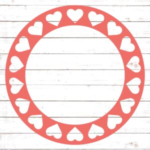 Circle Monogram Frame #6 with Hearts