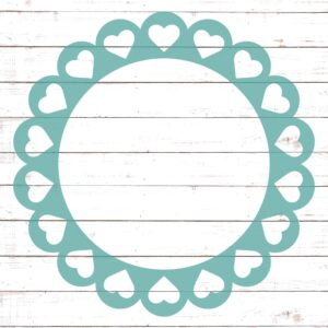 Circle Monogram Frame #7 with Hearts