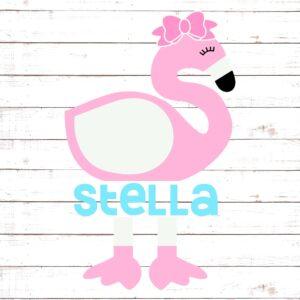 Cute Flamingo Split Monogram