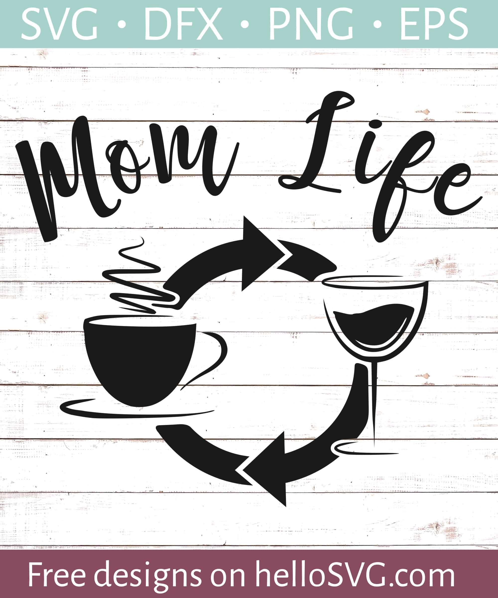 Free If we're wrong, simply cancel any time during your free trial and you won't be charged. Mom Life Wine Coffee Svg Free Svg Files Hellosvg Com SVG, PNG, EPS, DXF File
