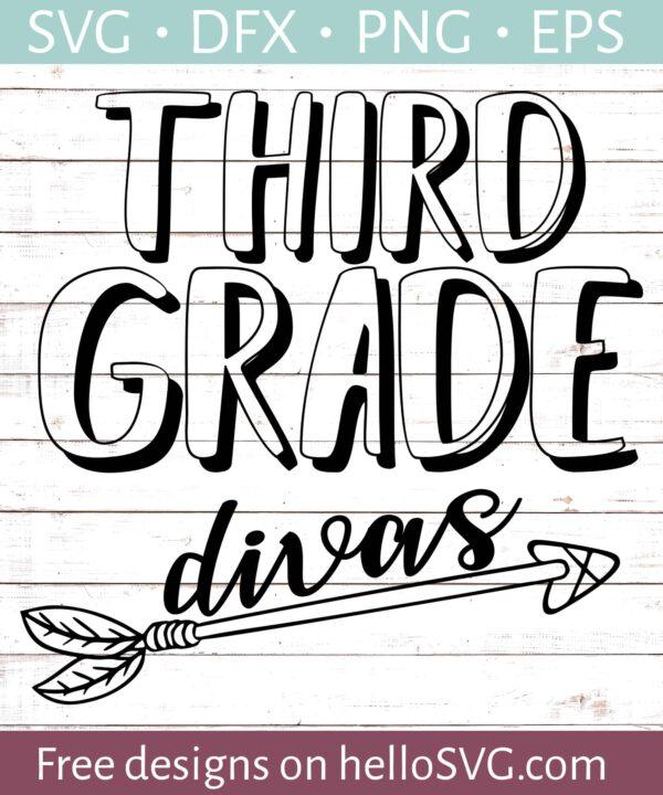 Third Grade Divas - Teacher Shirt Design