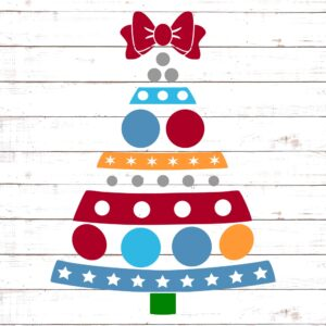 Christmas Tree with Patterns and Bow