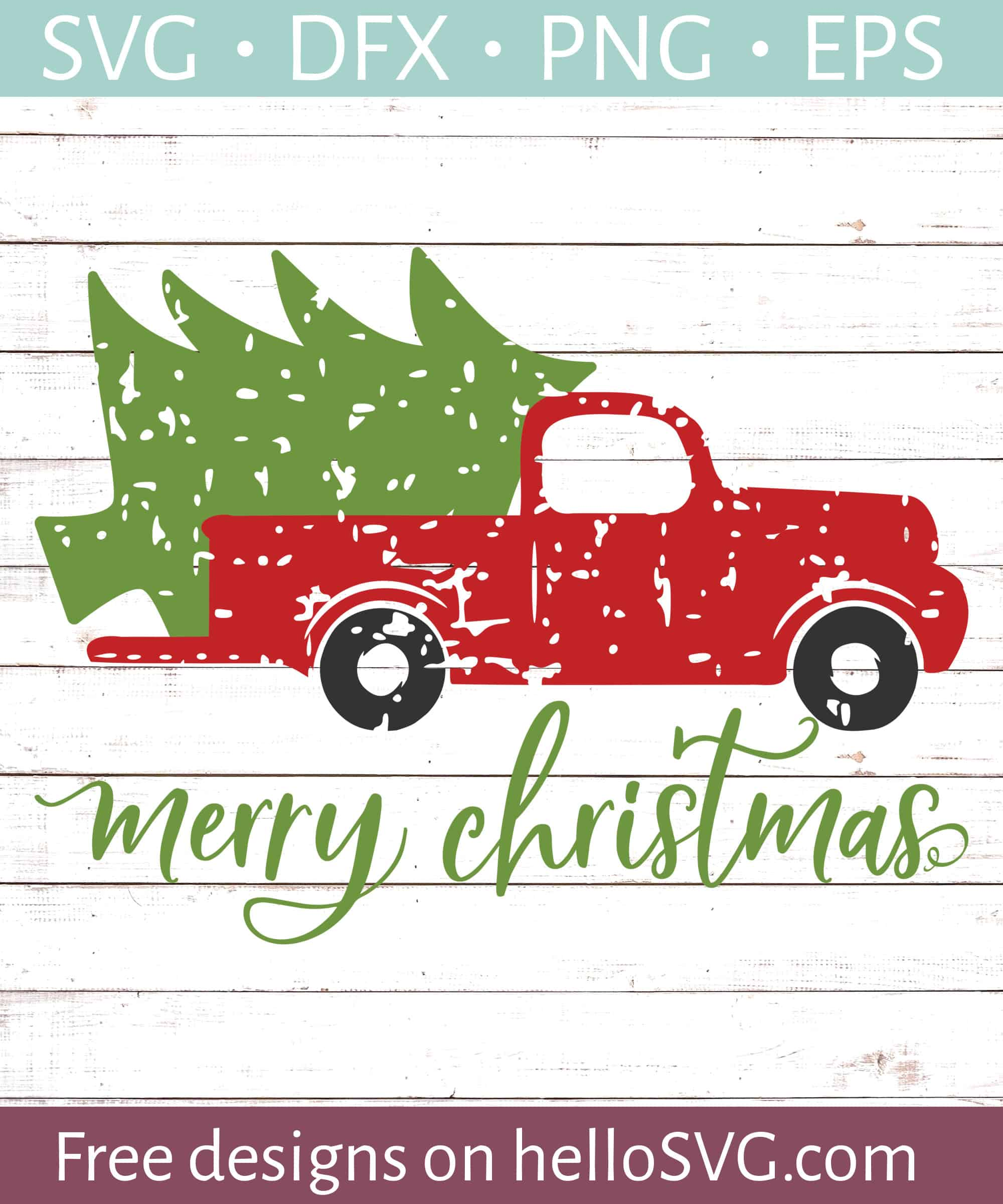 Merry Christmas With Vintage Truck Svg Free Svg Files Hellosvg Com