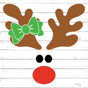 Reindeer Face with Bow #1