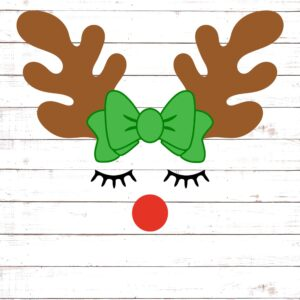 Reindeer Face with Bow #2